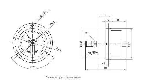 Габаритные размеры манометров ТМ-310ТКП.05