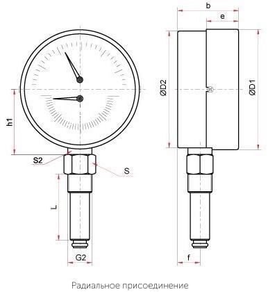 Термоманометр ТМТБ-31Р,-41Р радиальный купить в наличии и по низким ценам