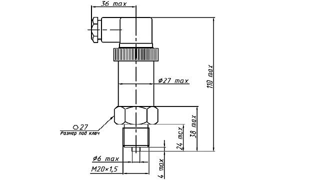 Габариты. Датчики давления ДМ5007Ех-ДД, ДМ5007АЕх-ДД