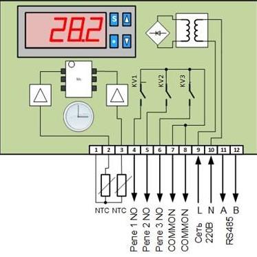 Контроллер температуры RTI-302-3cm функциональная схема