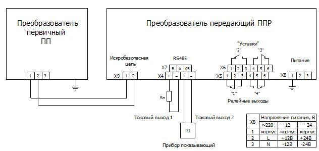 Схема подключения датчика-индикатора уровня РИС 101М1