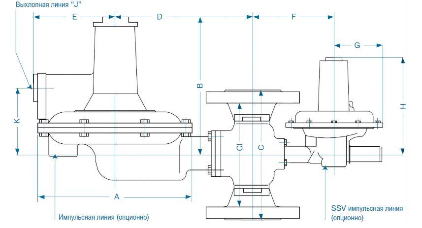 Регуляторы давления газа серии 133 и 233 ITRON чертеж