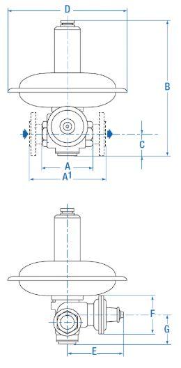 Регуляторы давления газа RB 1700 и RB 1800 (ITRON / Actaris Германия). Чертеж