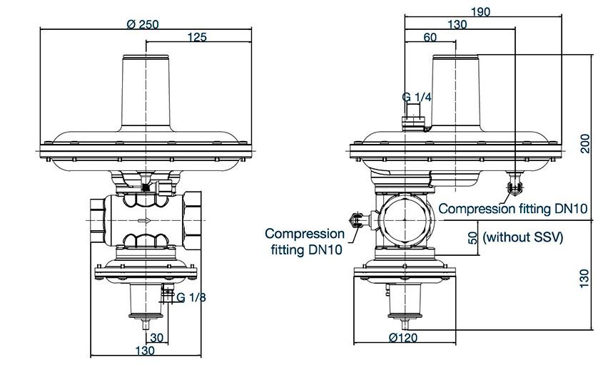 RB 3212 вариант исполнения с ПЗК – вес 4,9 кг.