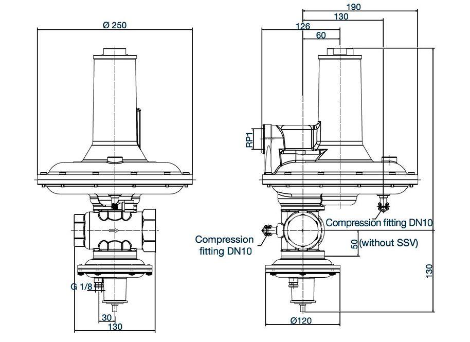 RB 3222 вариант исполнения с ПЗК – вес 6,4 кг.