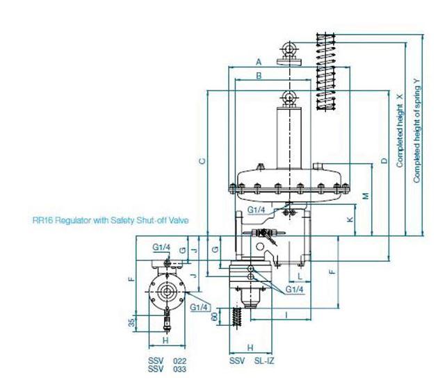Регуляторы давления газа RR16 (ITRON / Actaris). Чертеж