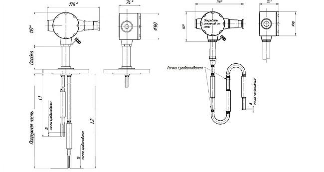 Габариты. СЖУ-1-ТР – сигнализатор со стальным тросом
