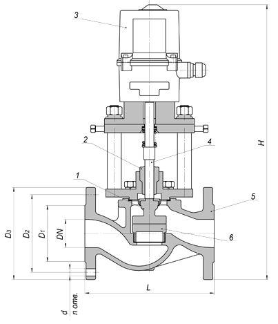 Клапаны питания котлов дисковые КРП-50Мд чертеж