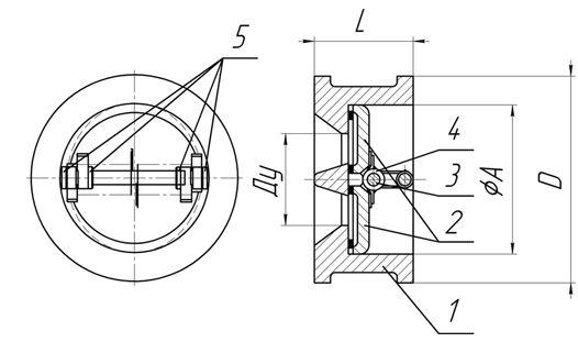Клапан обратный КО-40...200 чертеж и габаритно-присоединительные размеры