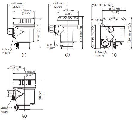 Габаритные размеры датчиков давления DPT-10 в корпусе из нержавеющей стали