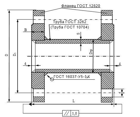 Макет фланцевый (вставка монтажная) расходомеров МФ-2.2Х, МФ-5.2Х