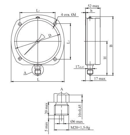 Габаритные размеры манометров М,-В-,МВ-3ВУКс