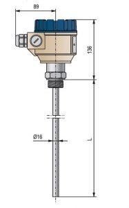 Габаритные размеры измерителя уровня NivoCap CTR-220-2