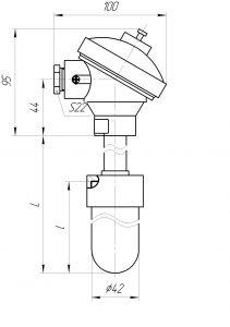 Термопара ТХА-0196-01, конструктивное исполнение и габаритные размеры