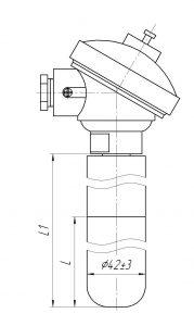 Термопара ТХА-0196-Е, конструктивное исполнение и габаритные размеры