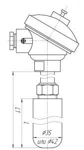 Термопара ТХА-0196-ЕМ-10, конструктивное исполнение и габаритные размеры