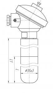 Термопара ТХА-0196-ЕМ, конструктивное исполнение и габаритные размеры
