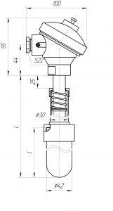 Термопара ТХА-0196, конструктивное исполнение и габаритные размеры