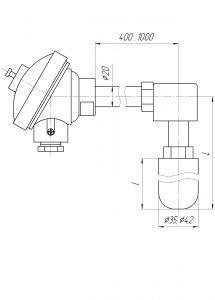 Термопара ТХА-0196С-Е, конструктивное исполнение и габаритные размеры