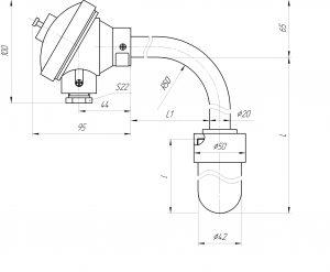 Термопара ТХА-0196С, конструктивное исполнение и габаритные размеры