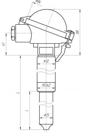 Габаритные размеры термопар ТХА-0496-02,-03