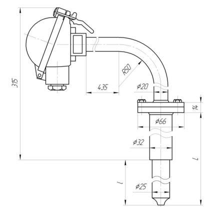 Габаритные размеры термопар ТХА-0496С