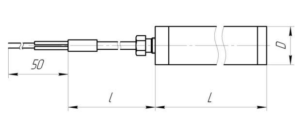Термопара ТХА-0499, конструктивное исполнение и габаритные размеры