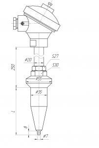 Габаритные размеры термопар ТХА-1292-03К