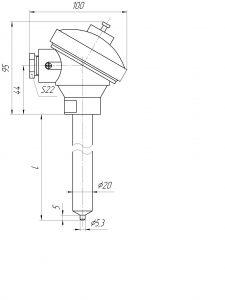 Габаритные размеры термопар ТХА-1292-К, ТХА-1592-К