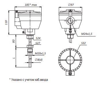Габаритные размеры термопар ТХА-,ТХК-0595-01