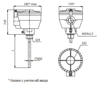 Габаритные размеры термопар ТХА-,ТХК-0595