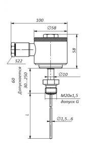 Габаритные размеры термопар ТХА/ТХК/ТНН/ТЖК-07-05