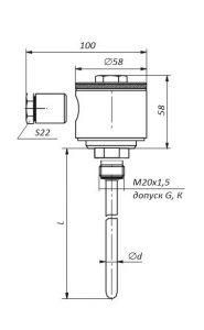 Габаритные размеры термопар ТХА/ТХК/ТНН/ТЖК-07-06