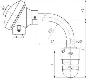 Угловые термопары ТНН-0196-СК, конструктивное исполнение и размеры