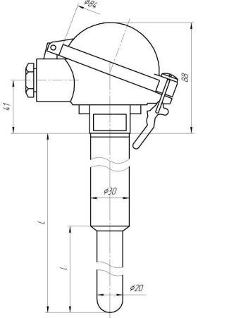 Габаритные размеры термопар ТХА0496, ТХА-0496-01
