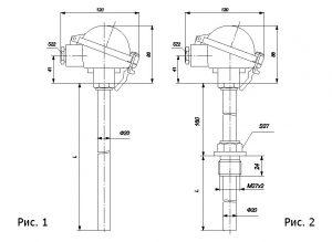 Термопары ТНН-0199, ТНН-0199-01, конструктивные исполнения и габаритные размеры