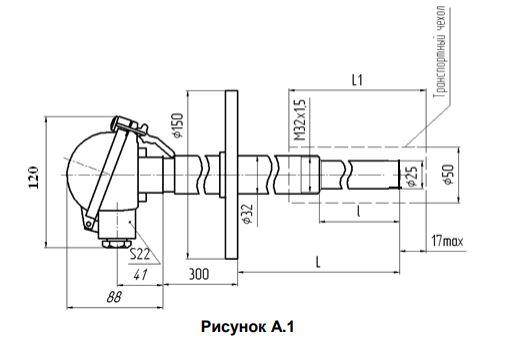 Габаритные размеры термопар ТПП/ТПР-0192-05А,-05Б,-06А,-06Б