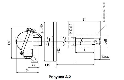 Габаритные размеры термопар ТПП/ТПР-0192-05А1,-05Б1,-06А1,-06Б1