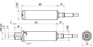 Габаритные размеры датчика ДДМ-1042-ДГ (погружного гидростатического зонда)
