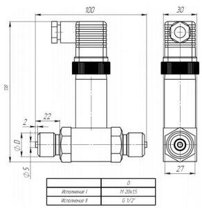 Габаритные размеры датчиков ДДМ-1111