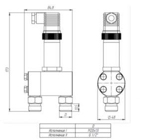 Габаритные размеры датчиков ДДМ-1211