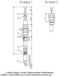Габаритные размеры датчиков уровня ДУ-О-1, ДУ-О-2
