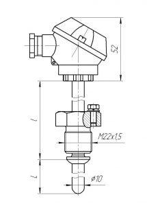 Конструктивное исполнение (рисунок) термопары ТХА-0193-01К-СФ