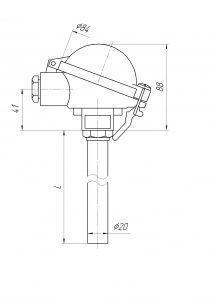 Конструктивное исполнение (рисунок) термопар ТХА/ТХК-0192,-0192А