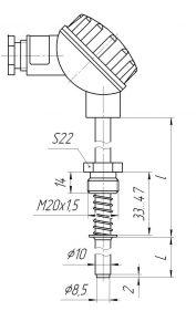 Конструктивное исполнение (рисунок) термопар ТХА/ТХК/ТЖК-0193-03К