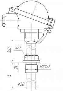 Конструктивное исполнение (рисунок) термопар ТХА/ТХК-1192,-1192А