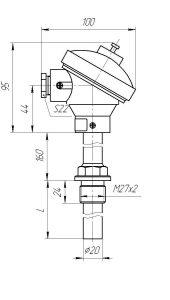 Конструктивное исполнение (рисунок) термопар ТХА/ТХК-1392-01, 01-А