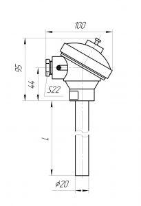 Конструктивное исполнение (рисунок) термопар ТХА/ТХК-1392, 1392-А