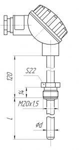Конструктивное исполнение (рисунок) термопар ТХА/ТХК/ТЖК/ТНН-0193-01К, -1393-01К