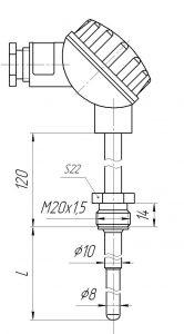 Конструктивное исполнение (рисунок) термопар ТХА/ТХК/ТЖК/ТНН-0193-02К, -1393-02К